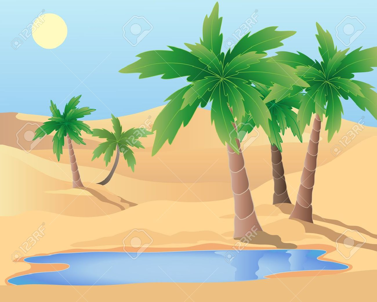 an illustration of a desert oasis with palm trees and a pool under a blue sky - 9574041