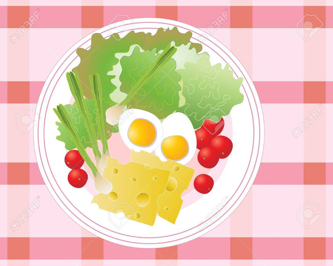 an illustration of a healthy plate of summer salad with cherry tomatoes lettuce onions and boiled eggs Stock Vector - 9928123