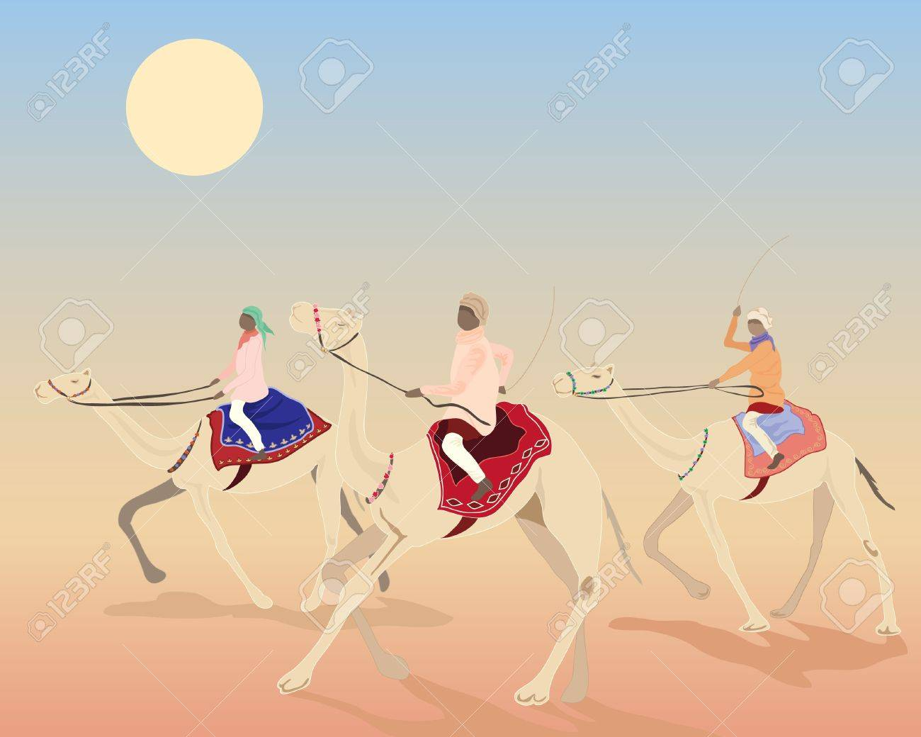 an illustration of three camels with riders racing under the desert sun Stock Vector - 10038483
