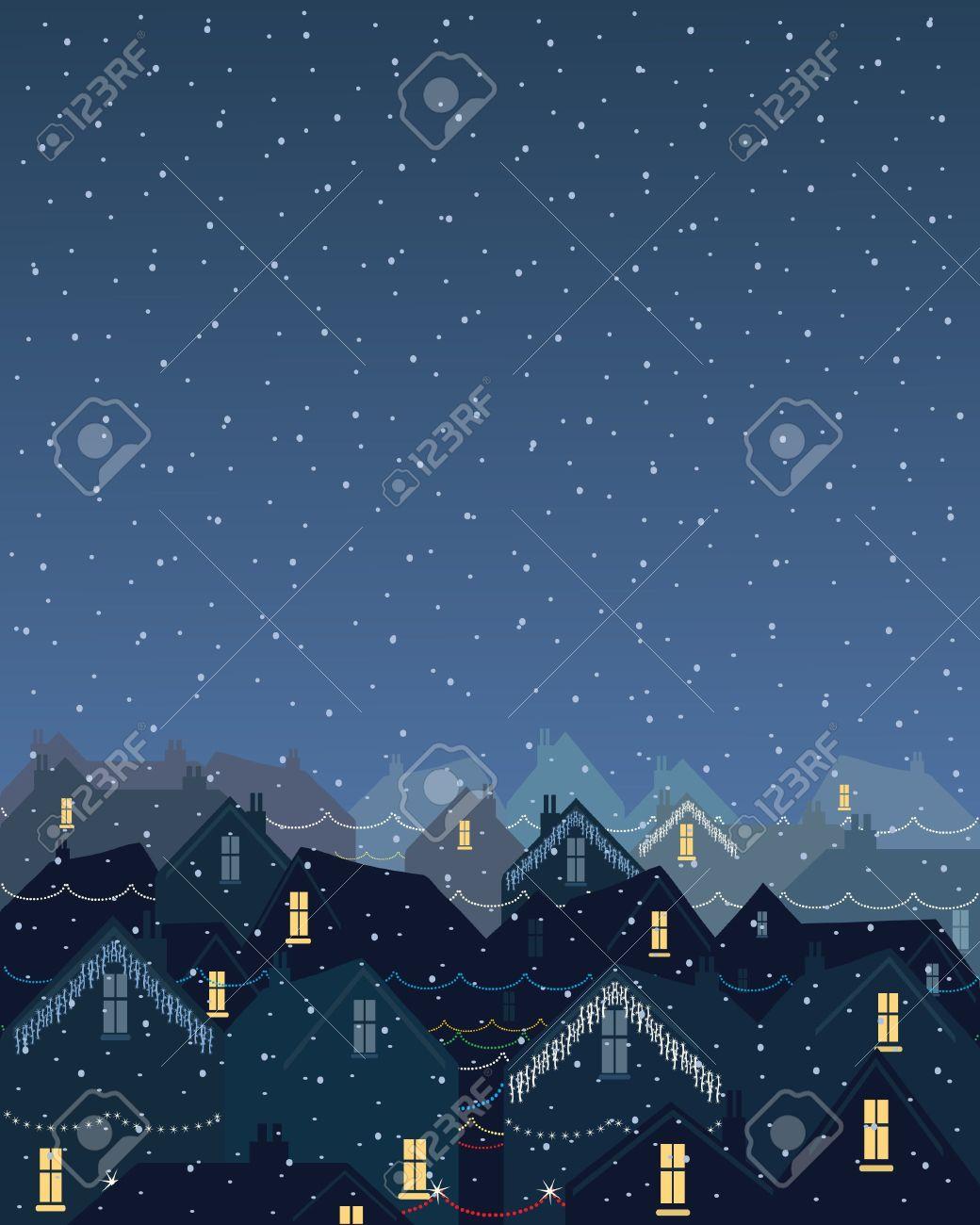 まだ雪の夜にクリスマスの照明を冬に市内の街並みのイラストのイラスト