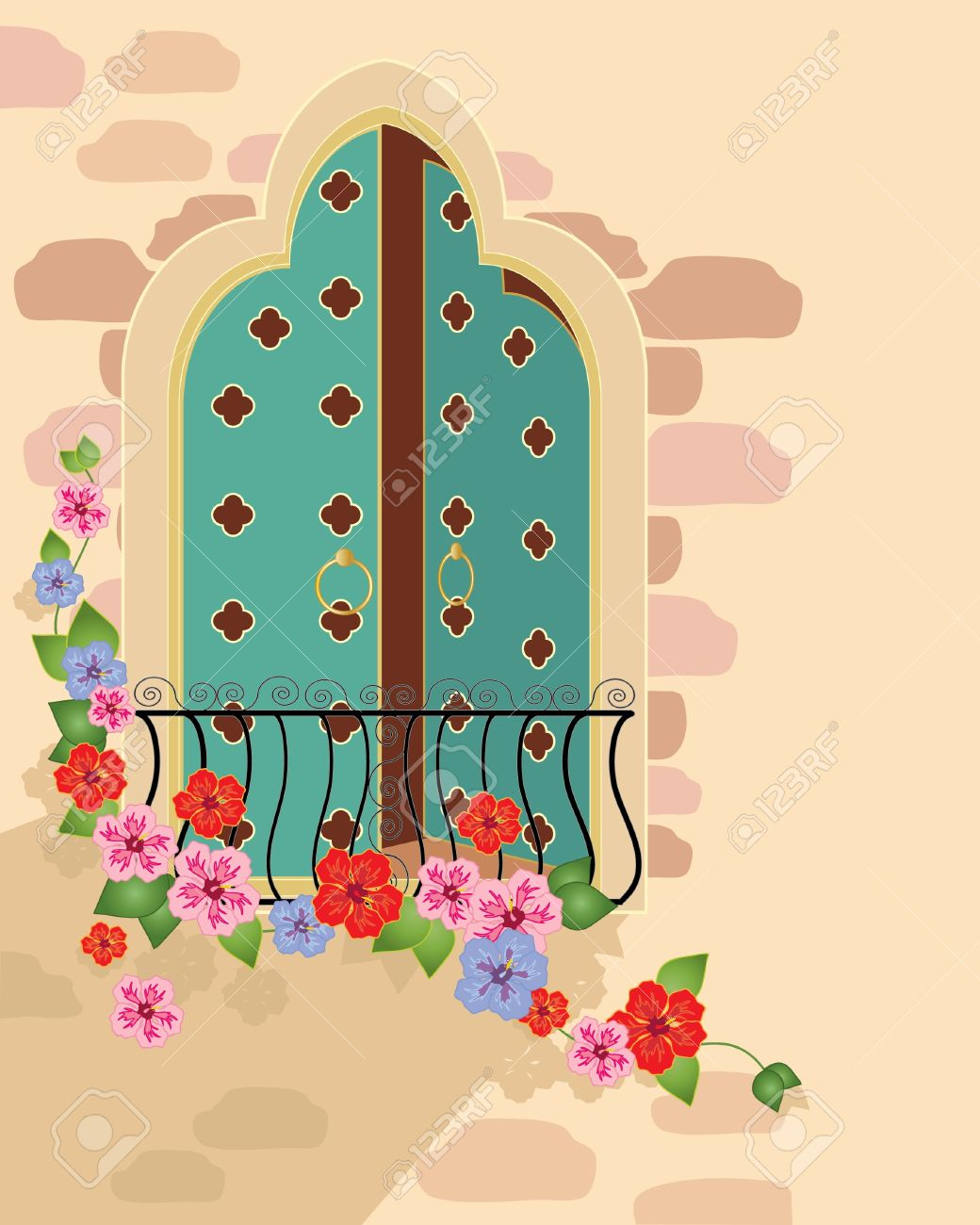 an illustration of a fancy asian style window with balcony and hibiscus flowers Stock Vector - 10338809