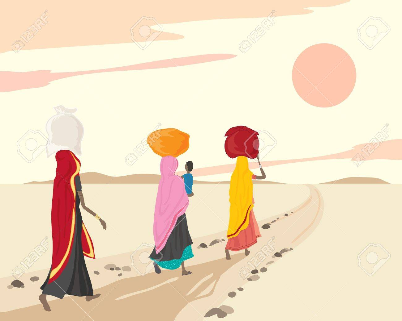 an illustration of three indian women and a child walking home with shopping bundles under a sunset sky Stock Vector - 10359047