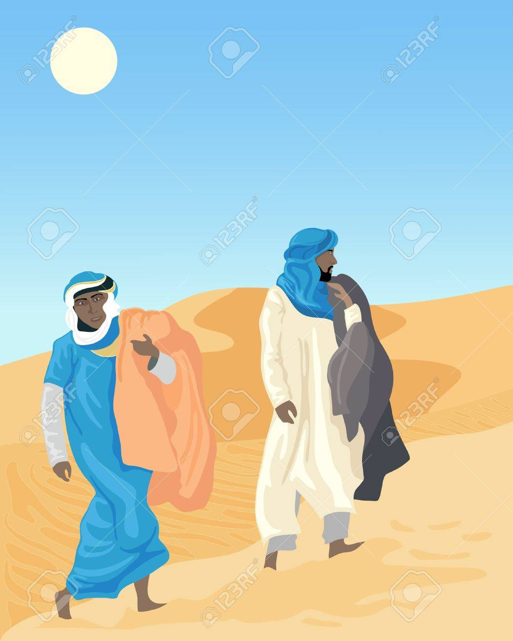 an illustration of two bedouins walking through sand dunes with blankets under a hot sun - 10505643