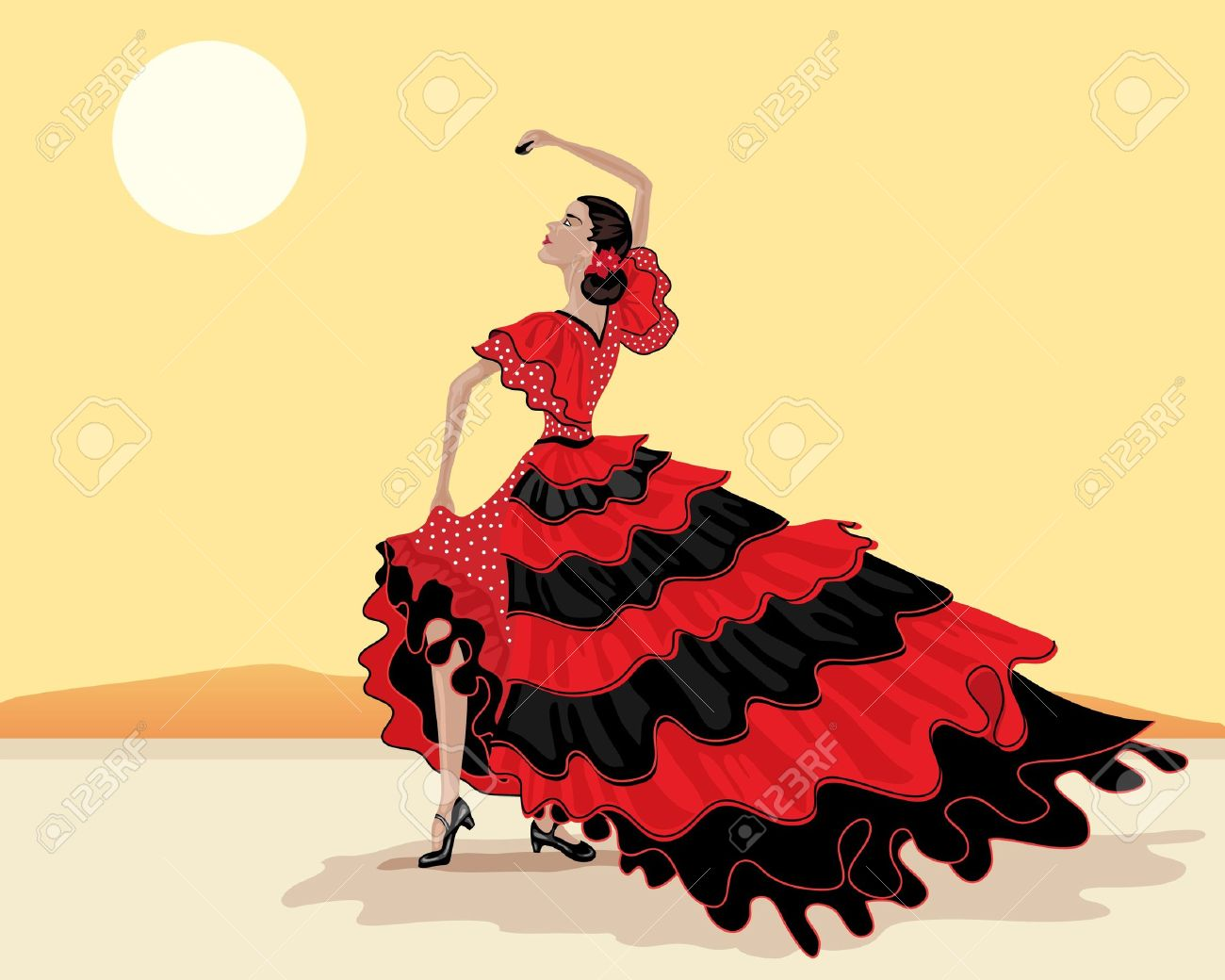 an illustration of a spanish flamenco dancer in a beautiful polka dot red and black dress under a hot spanish sky Stock Vector - 10517186