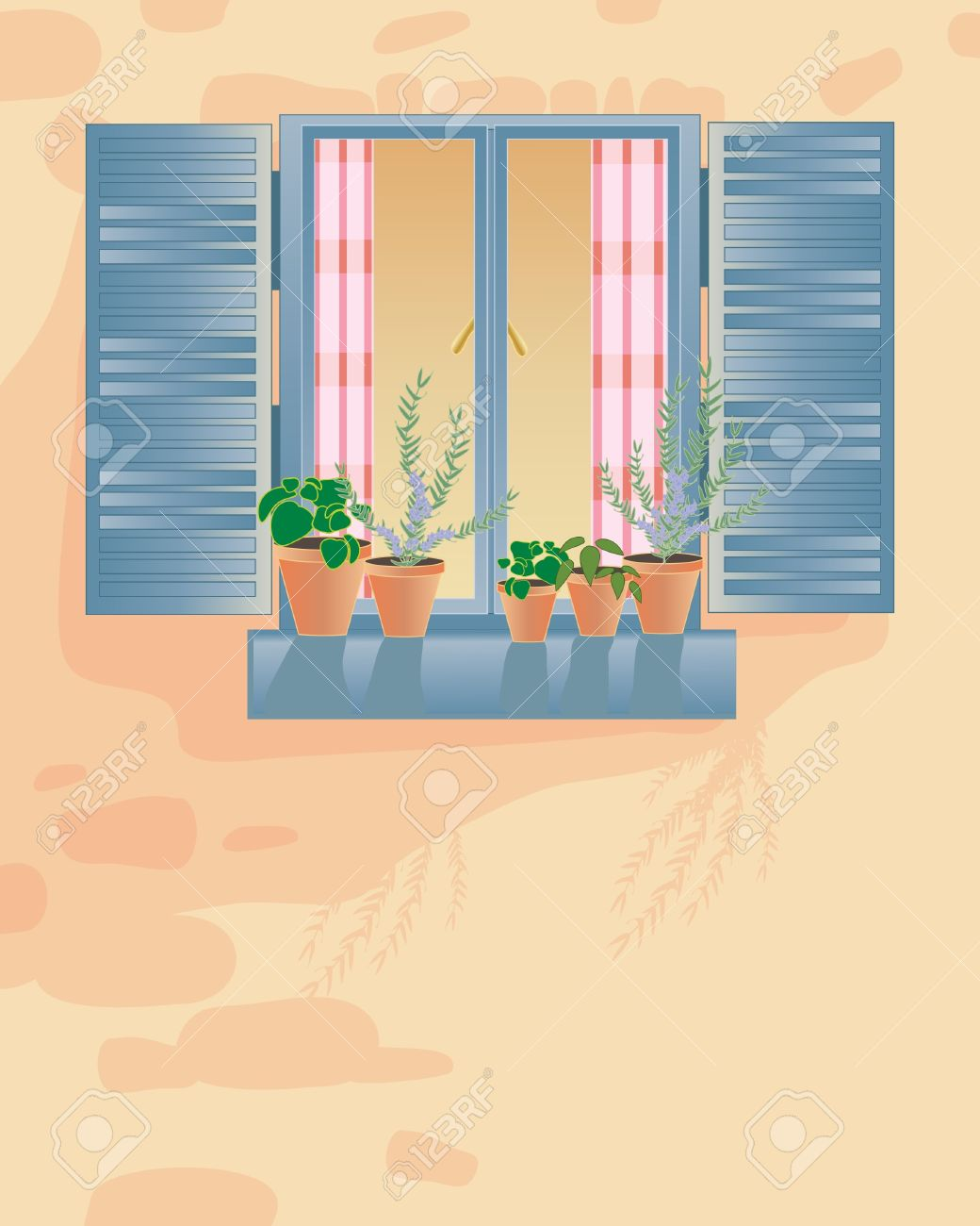 An Illustration Of An Old Rustic Window With Checked Curtains ...