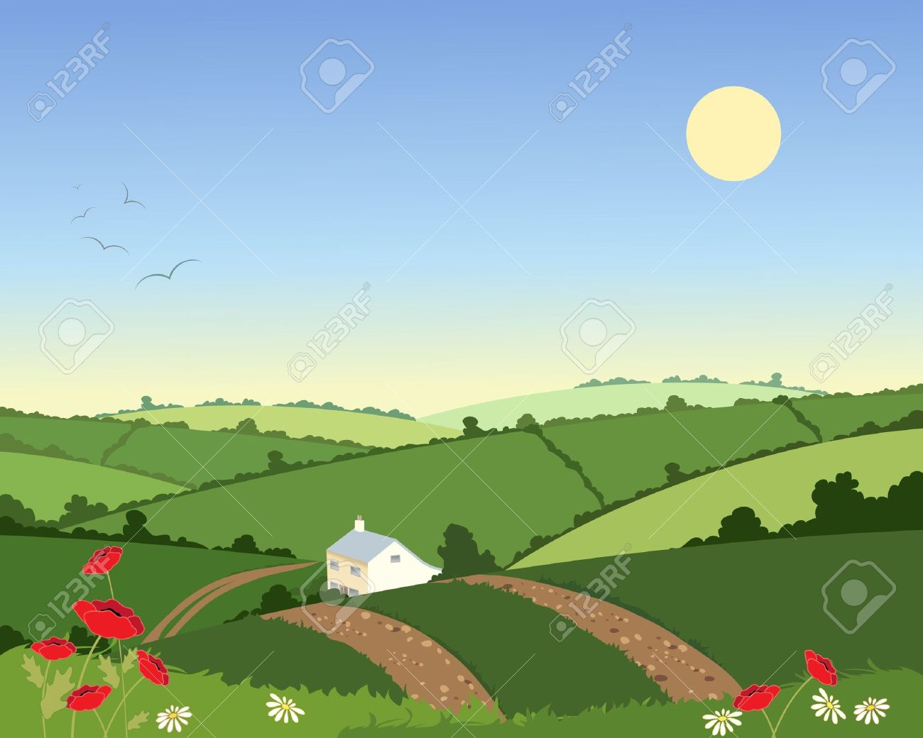 an illustration of a country cottage in a summer landscape with rolling hills hedgerows and flowers under a blue sky Stock Vector - 11307701