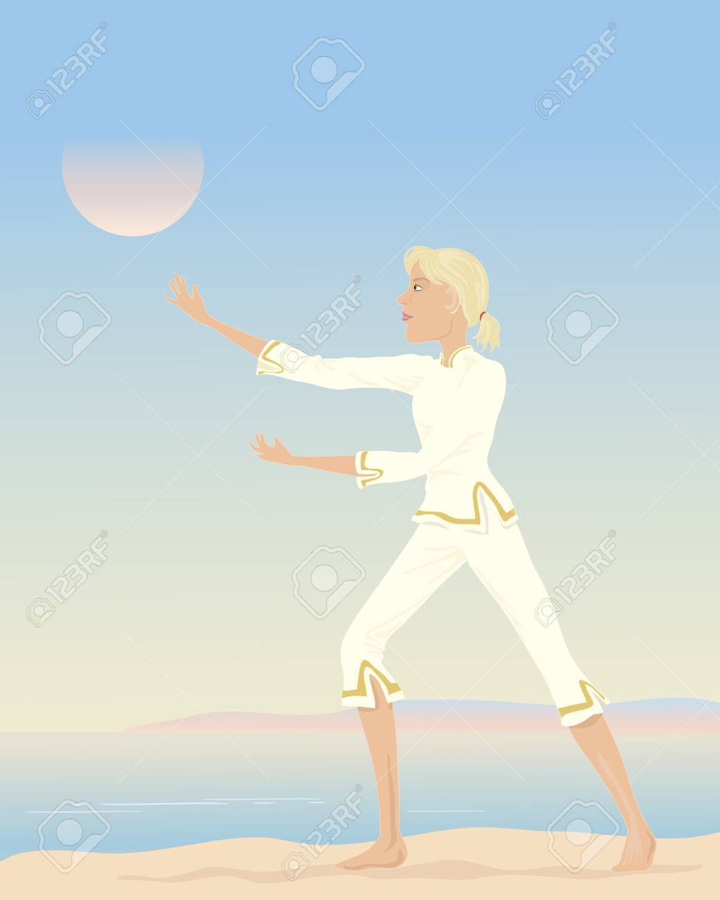 an illustration of a woman practising tai chi with a seascape background Stock Vector - 11537300