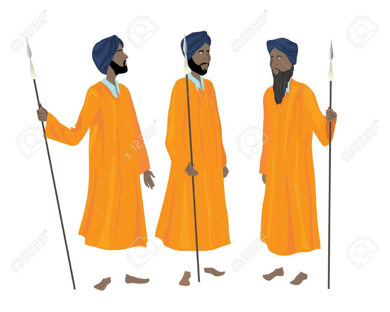 an illustration of three sikh men in the traditional uniform of the guards of the golden temple at amritsar Stock Vector - 11810660