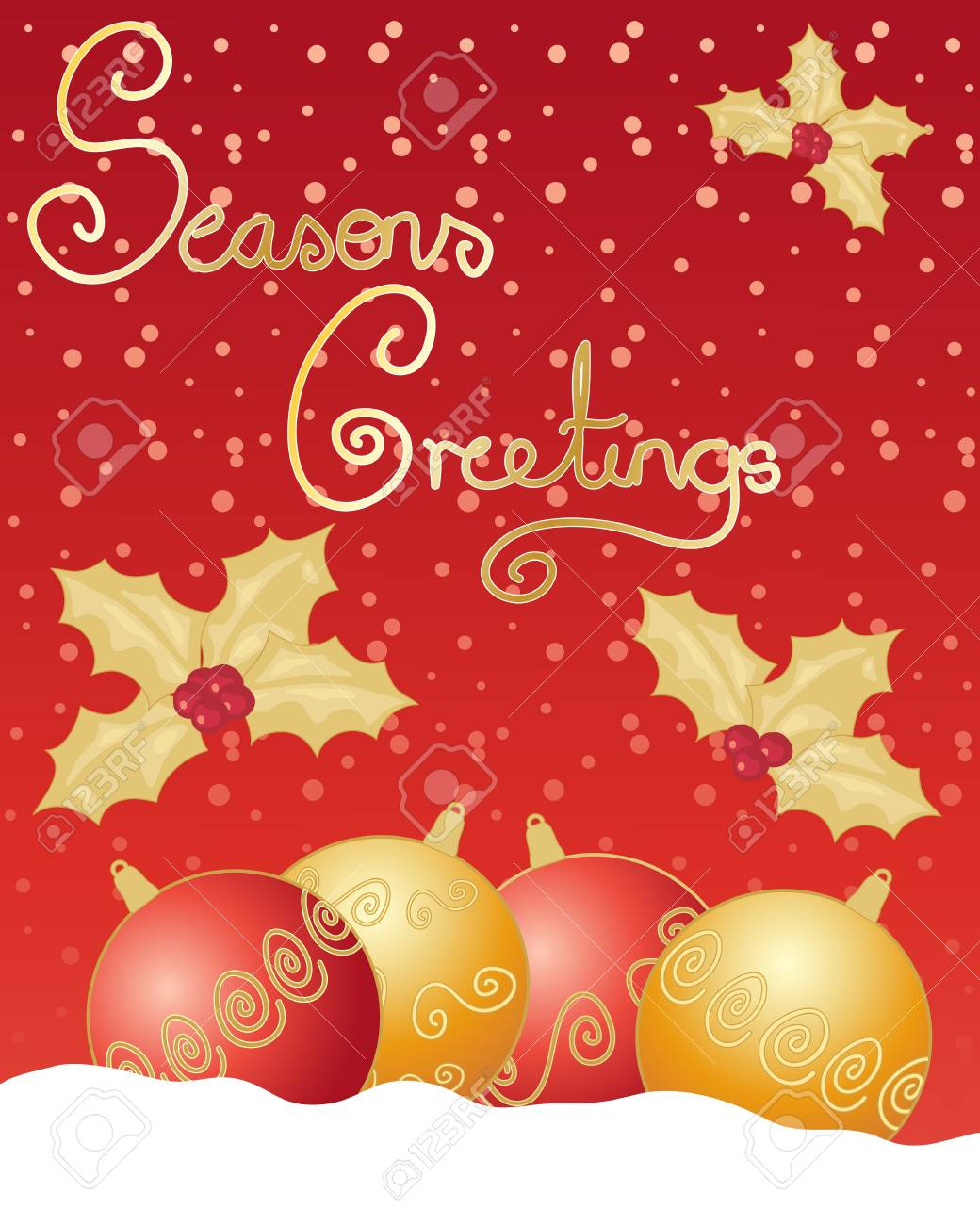 An Illustration Of A Christmas Greeting Card With Red And Gold