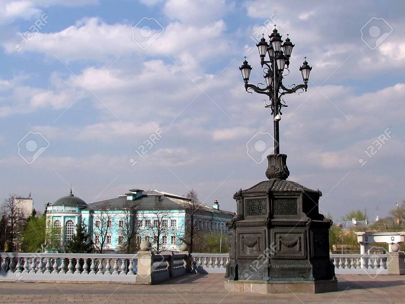 Street Lamp In Retro Style near Glazunov Gallery in Moscow, Russia                               Stock Photo - 13437081