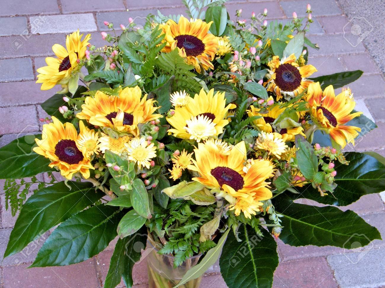 le bouquet de tournesol à or yehuda, israël, le 21 juillet, 2010