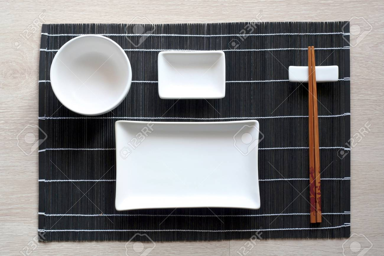 Japanese Table Setting With Traditional Mat And Sushi Kit. Top ...