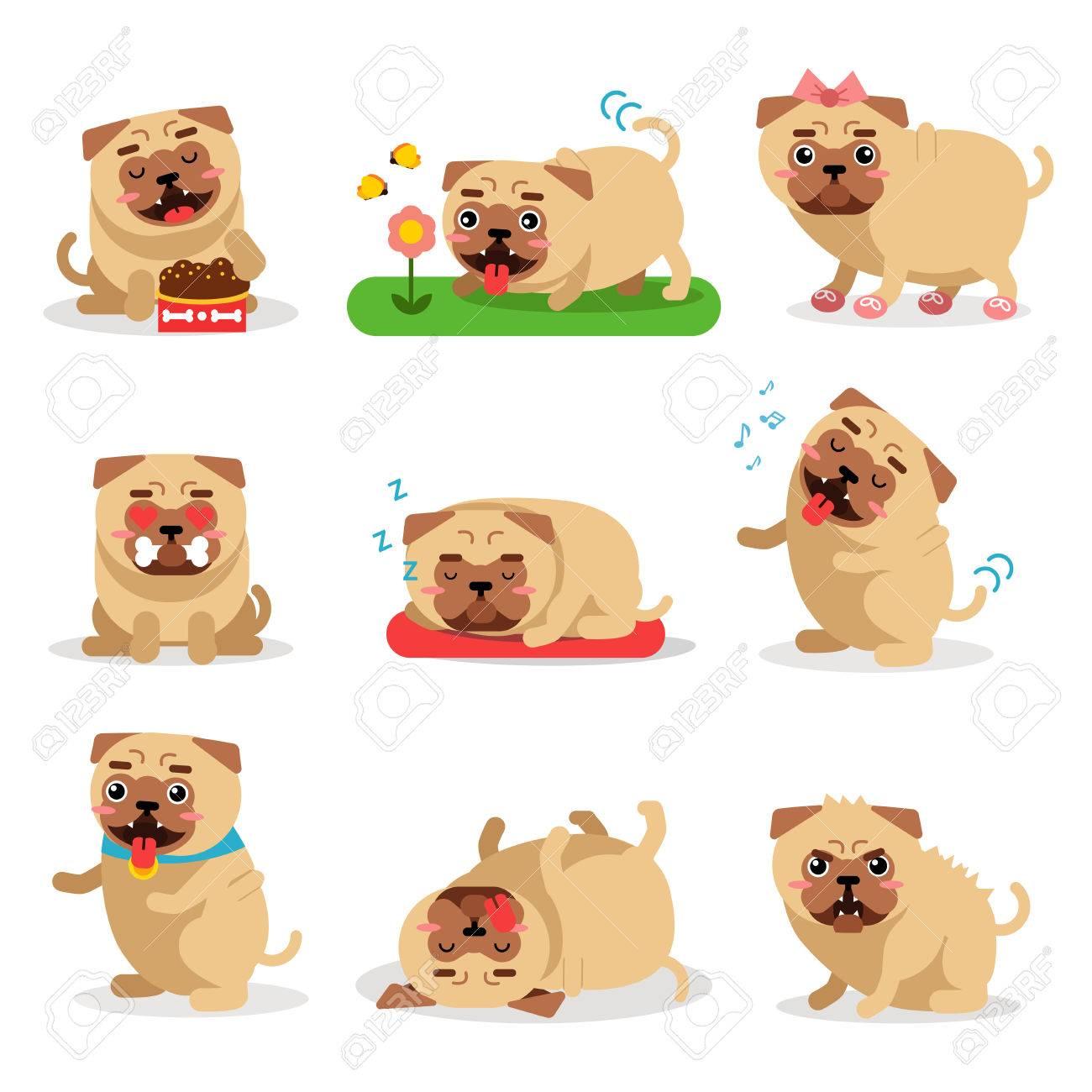 かわいいパグ犬活動日を設定します犬の毎日ルーチンのベクトル