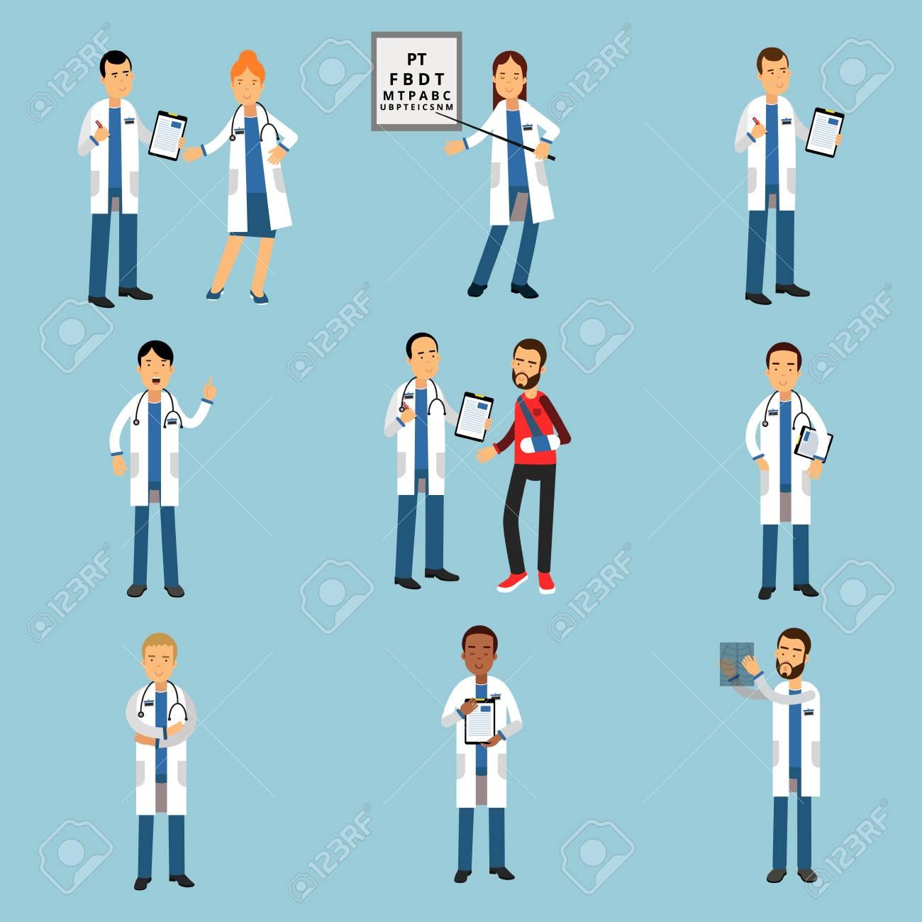 Practitioner young doctors set, hospital medical staff detailed colorful Illustrations - 80123361