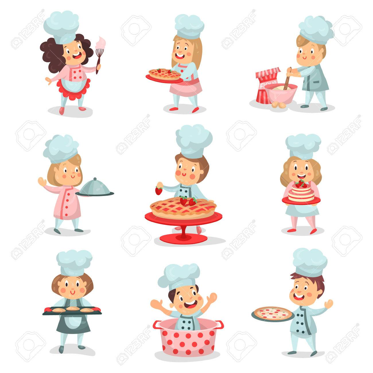 Personaje de dibujos animados chef cocinero niño con olla gris