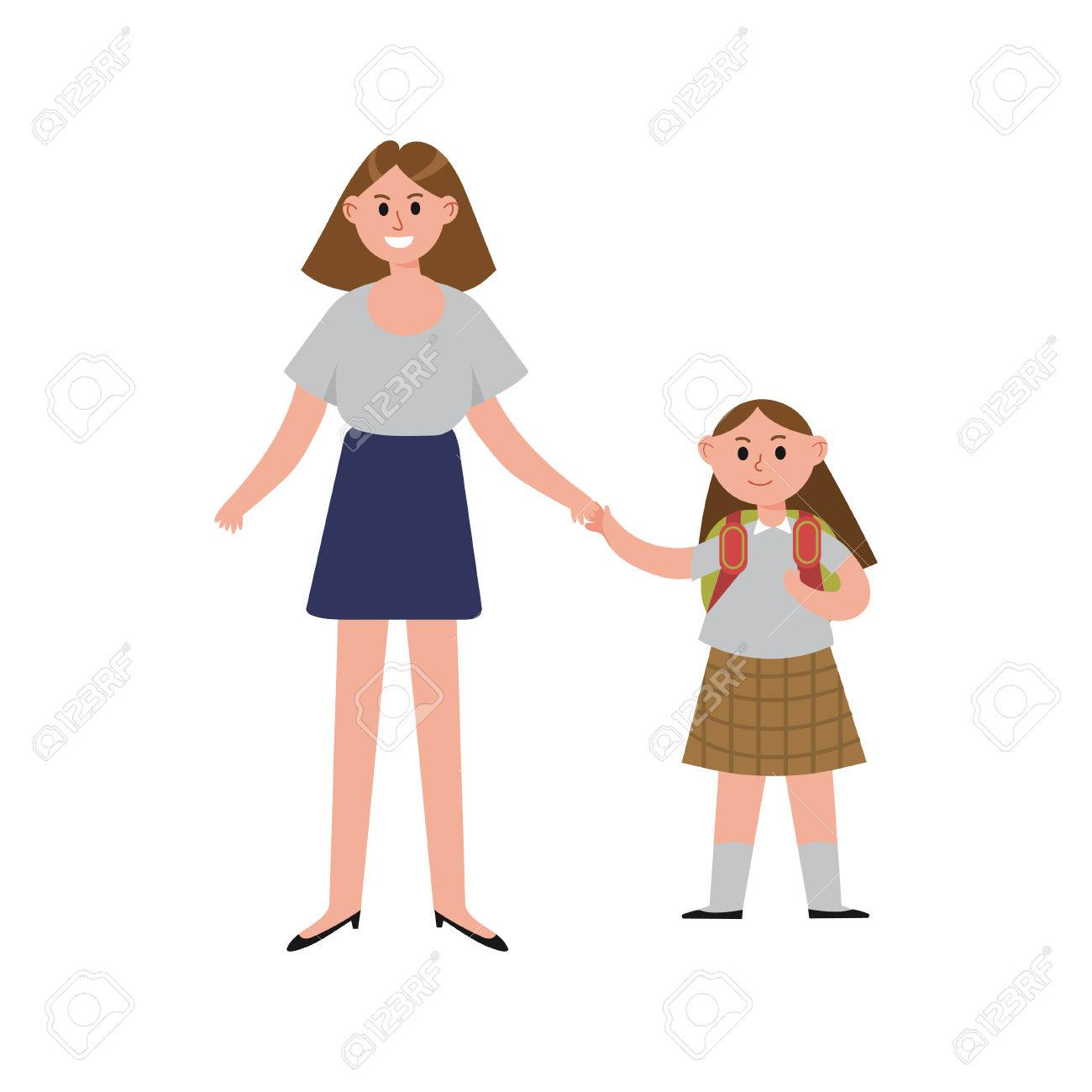 Mère Prenant Sa Fille Aux Personnages De Dessin Animé De L école Maman Heureuse Avec Son Vecteur Enfant Illustration