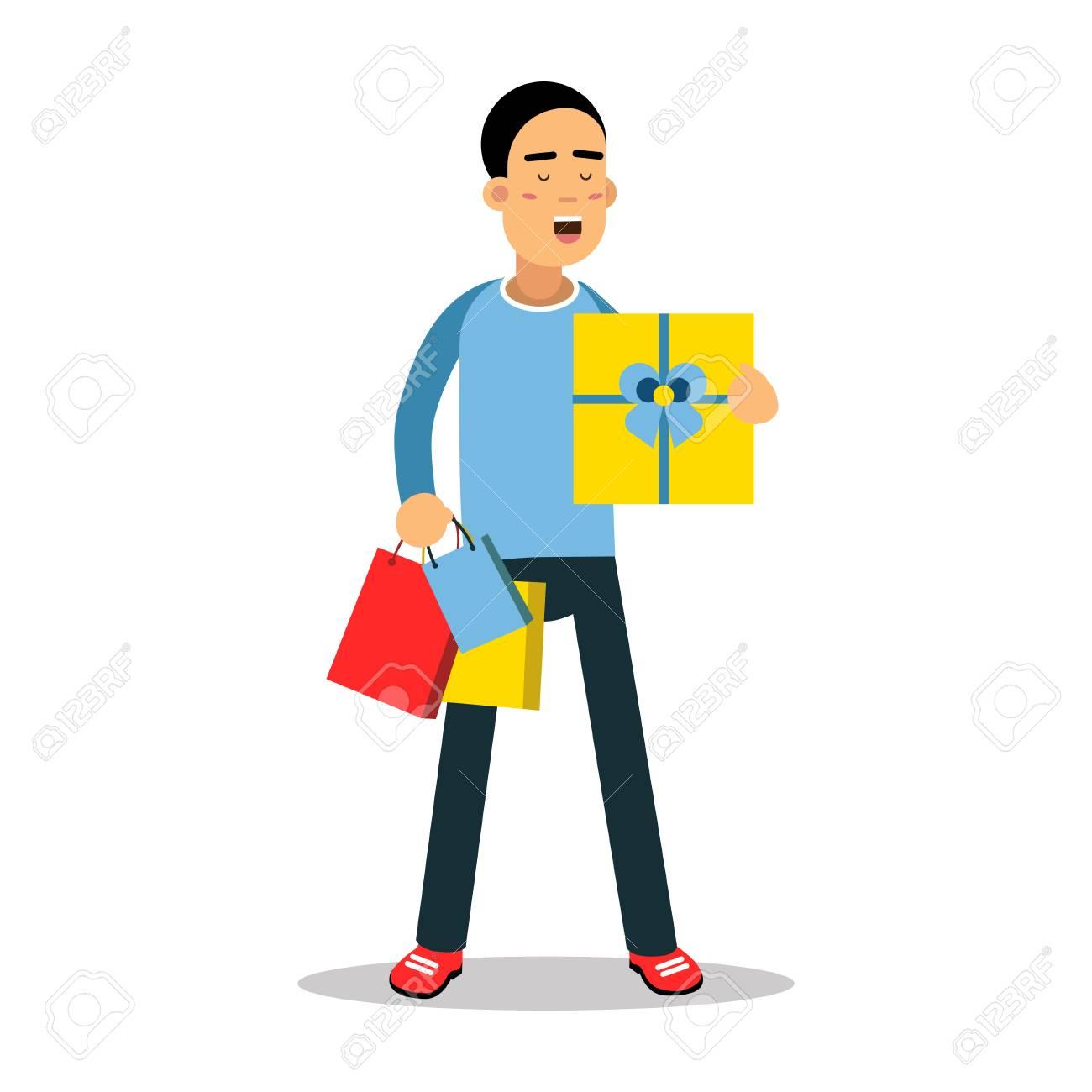 Jeune Homme Debout Avec Boite Cadeau Jaune Et Achete Illustration De