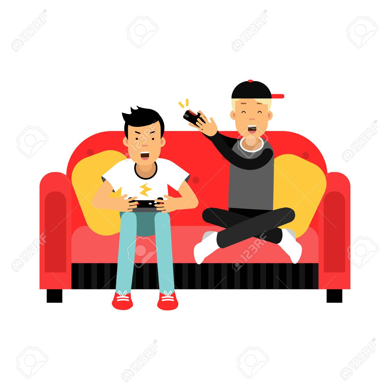 Two Young Male Friend Sitting On Sofa And Playing Video Games