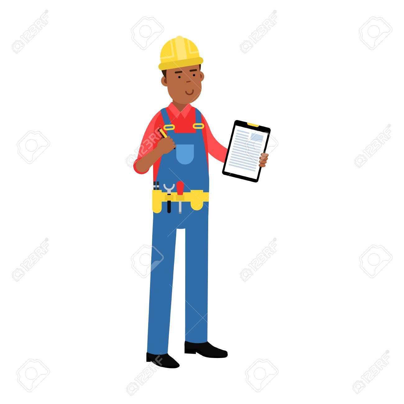 Männliche Bauarbeiter Charakter In Overalls Mit Gürtel Mit ...