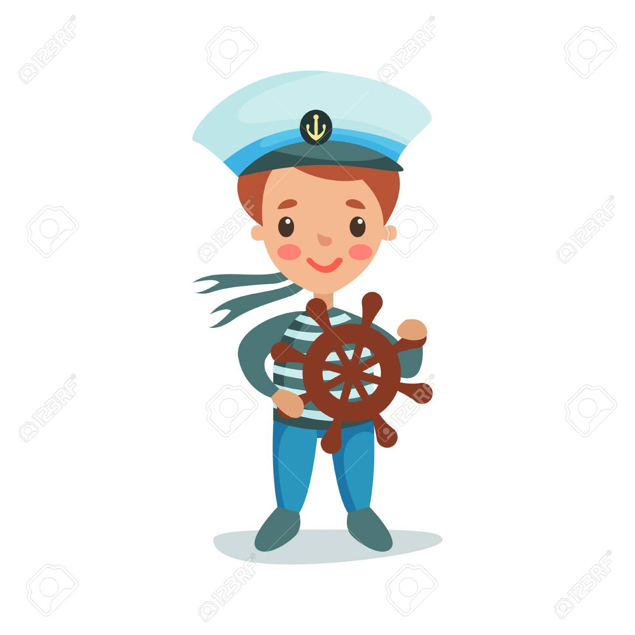 Cute little boy in sailors costume playing with wooden wheel kid dreaming of becoming a  sc 1 st  123RF.com & Cute Little Boy In Sailors Costume Playing With Wooden Wheel ...