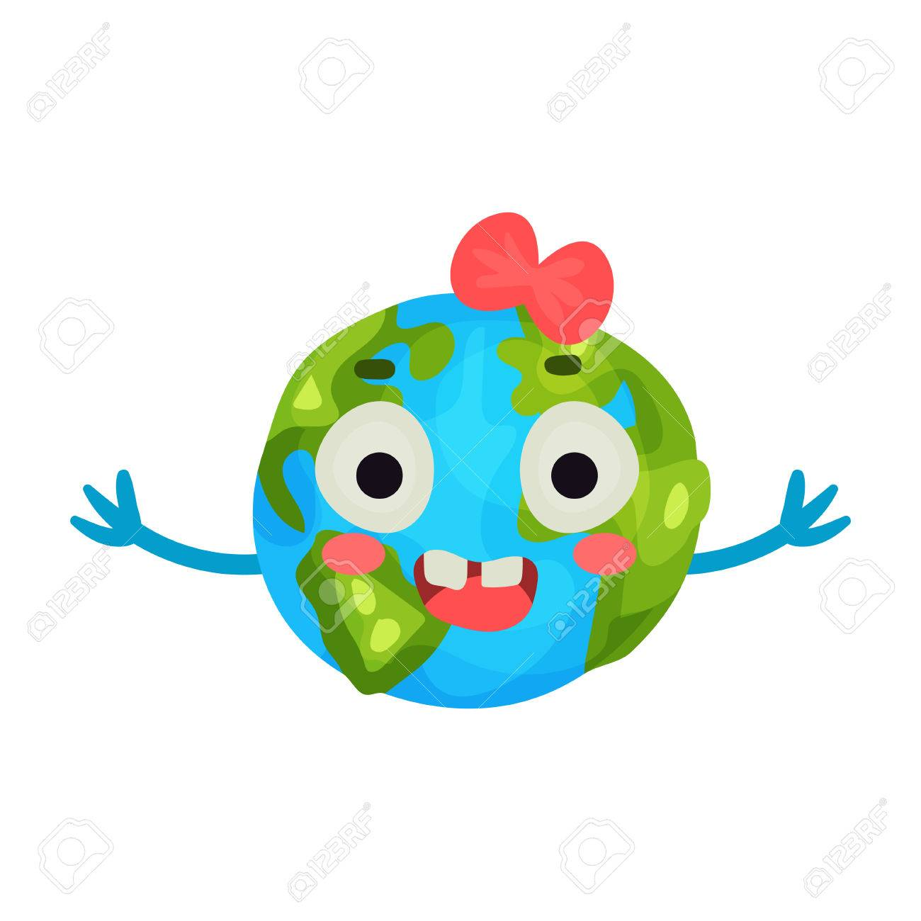 Funny Smiling Cartoon Earth Planet Emoji With Red Bow Humanized