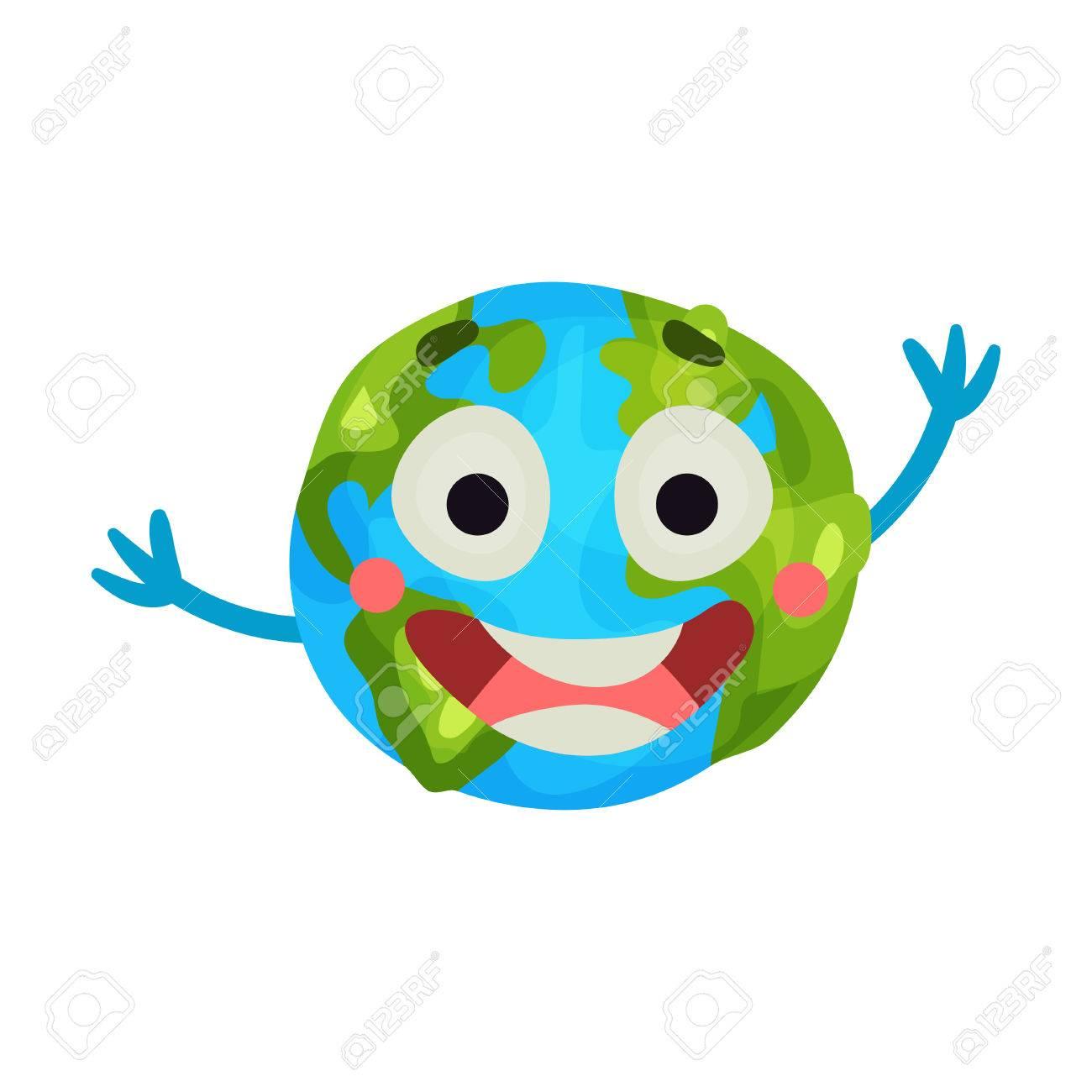 Cute Cartoon Laughing Earth Planet Emoji Happy Globe Face Colorful
