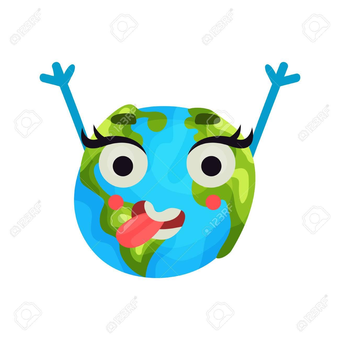 banque dimages dessin anim mignon plante terre heureuse emoji levant les mains personnage de globe humanis avec vecteur color des motions - Dessin Avec Emoji