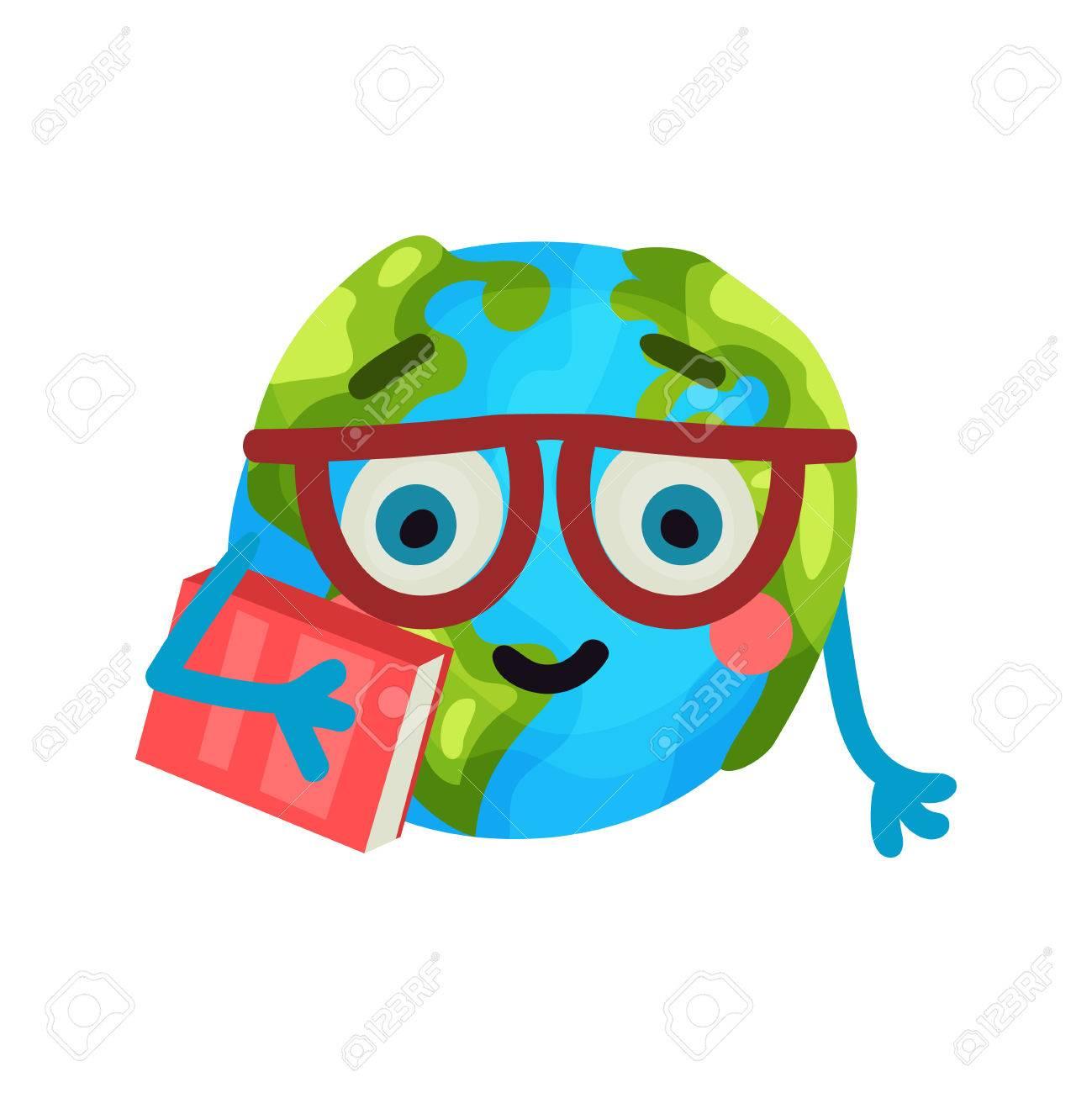 Smart Cartoon Drole Planete Terre Emoji Portant Des Lunettes Tenant Un Livre Humanized Globe Personnage Avec Des Emotions Vecteur Colore Illustration
