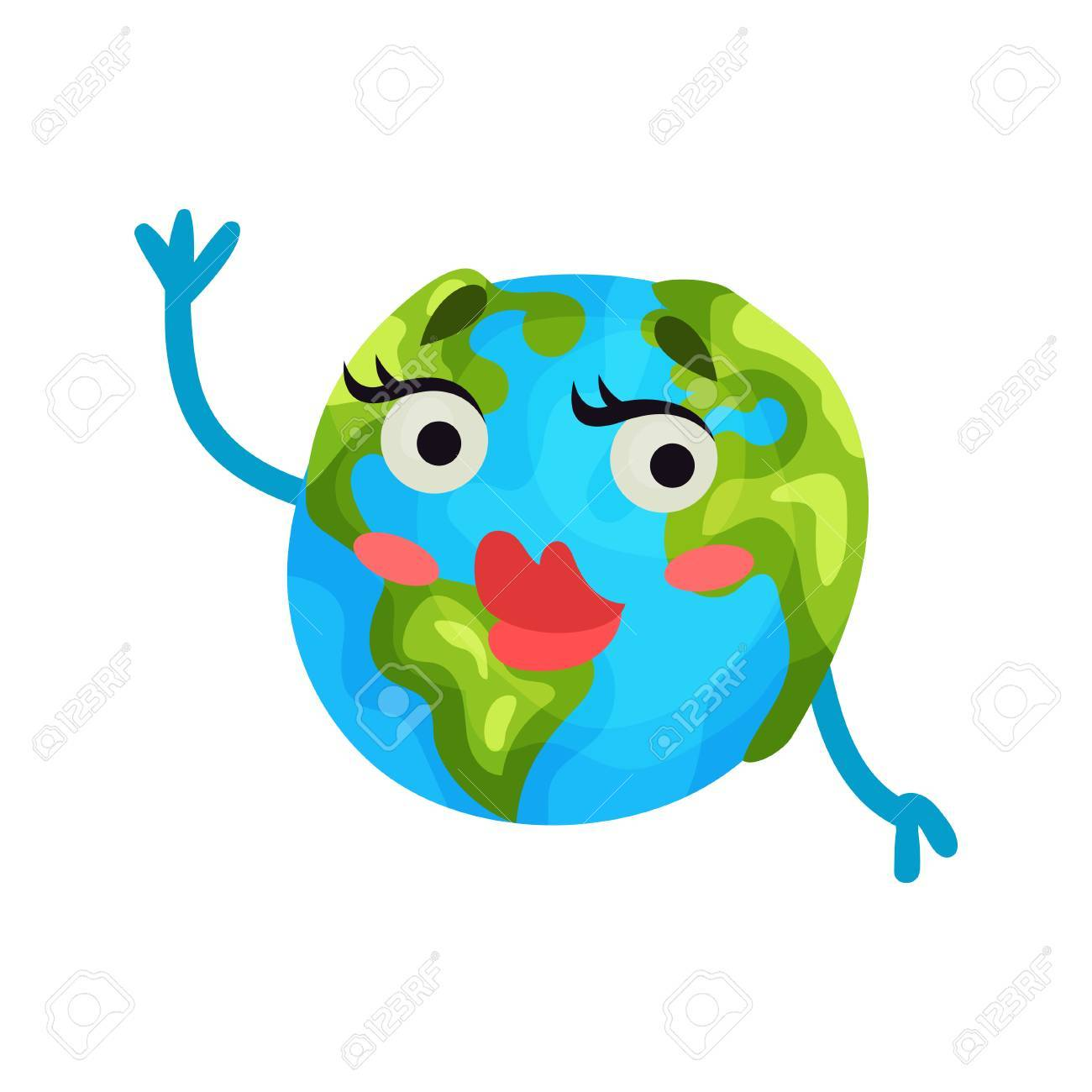 banque dimages emoji de plante terre dragueur mignon dessin anim avec des lvres rouges personnage de globe humanis avec des motions vecteur color - Dessin Avec Emoji