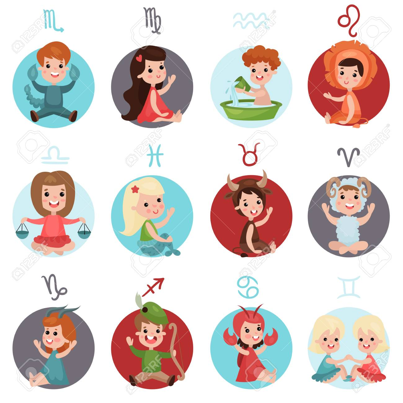 Adorable little kids wearing horoscope signs costumes set, in cartoon character Illustrations. - 87356059