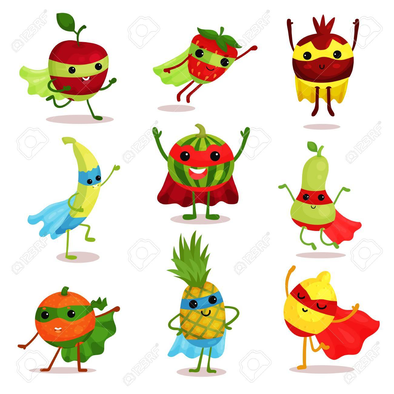 Vector illustration set of happy superhero fruit characters in different poses, card or print elements - 89465664