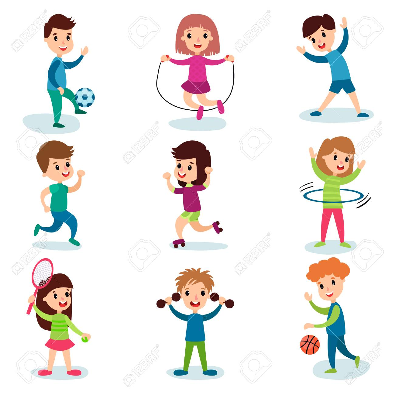 Smiling little kids characters doing different sports and playing sportive games, kids physical activity cartoon vector Illustrations - 90508871