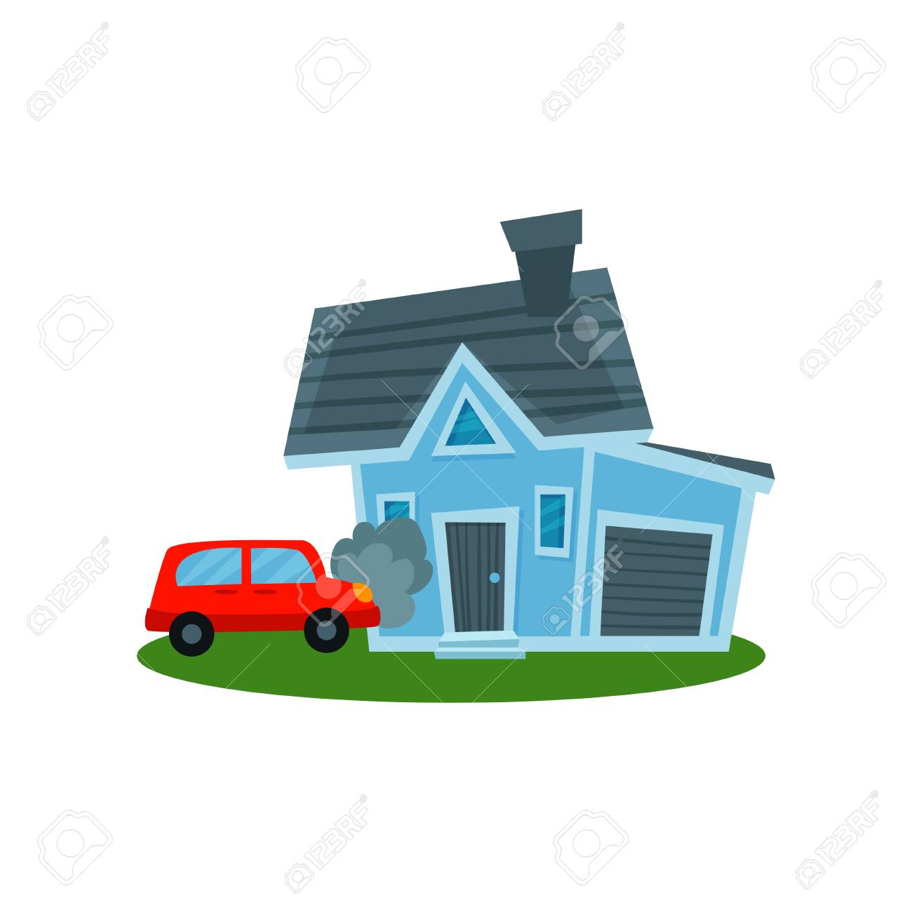 Car And Home Insurance >> Auto Crashing Into Wall Of Home Property Insurance Vector Illustration