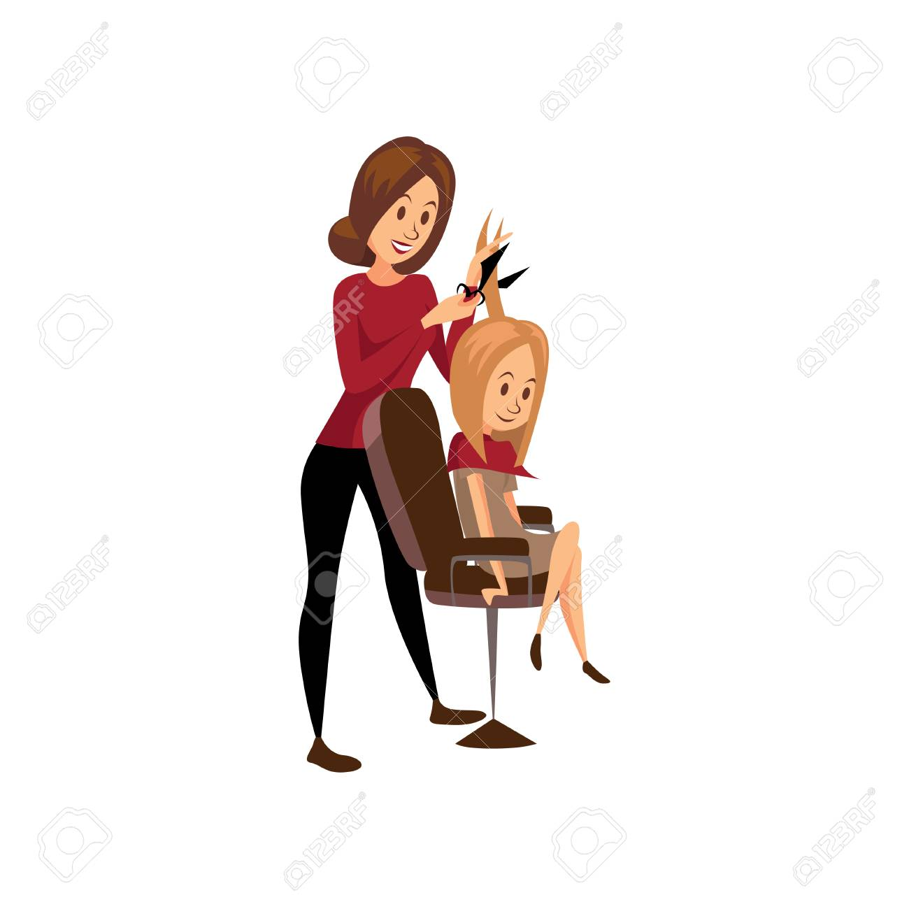 Female hairdresser cutting hair of young woman, professional hair stylist at workplace cartoon vector Illustration - 91179878