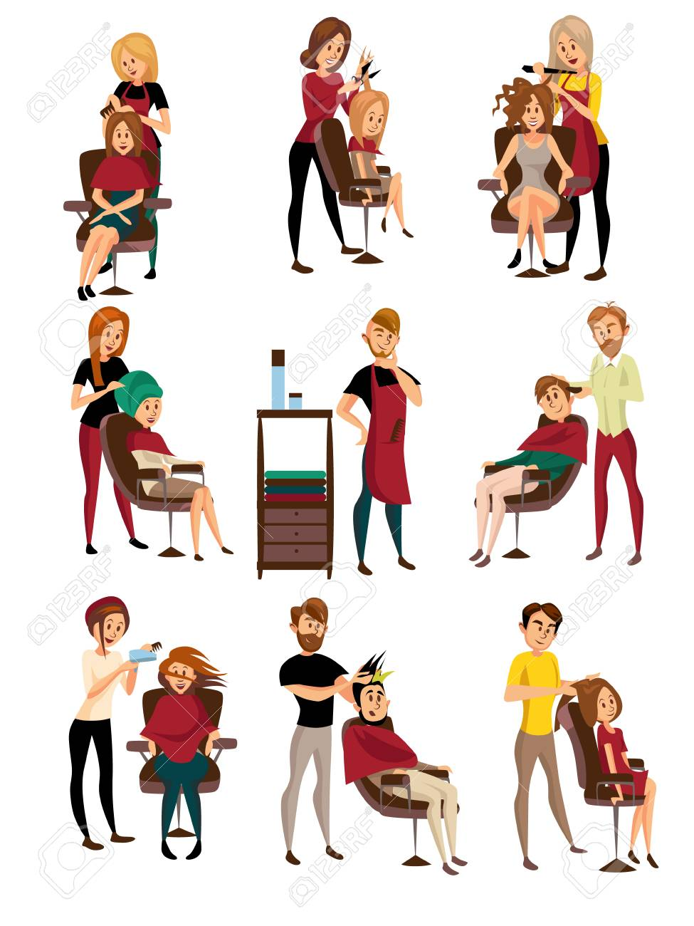 Different Hairdressers Serving Clients Set Man And Woman In Royalty Free Cliparts Vectors And Stock Illustration Image 91174594