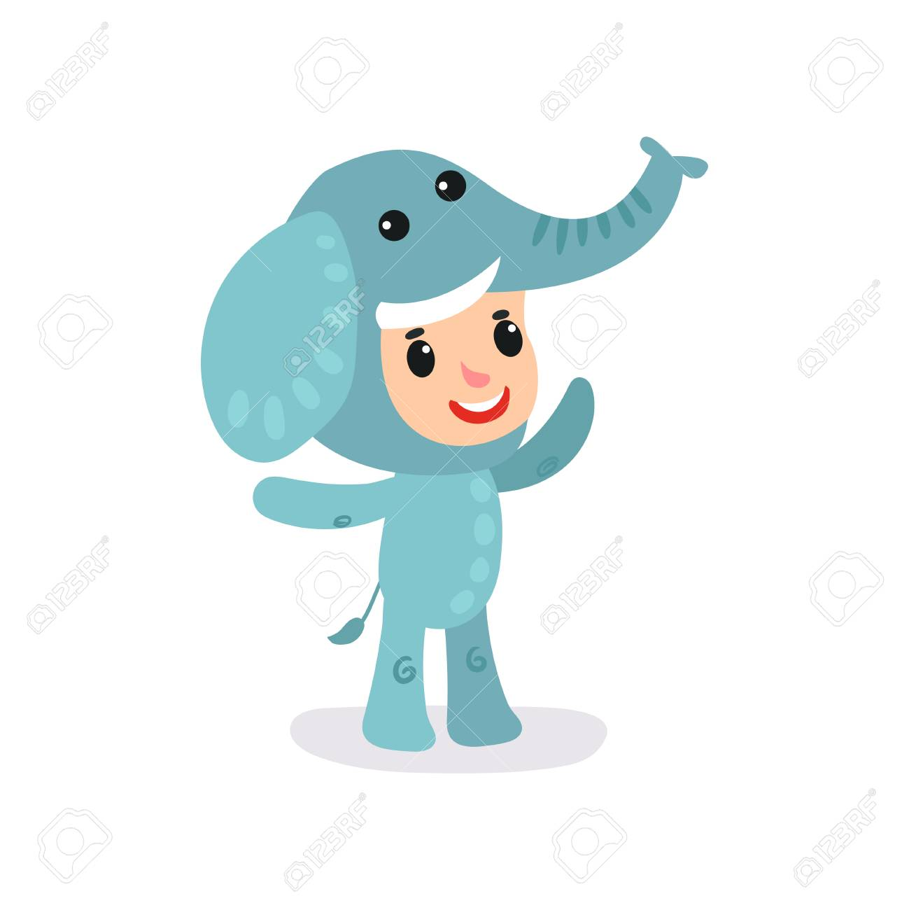 Toddler child in blue elephant jumpsuit. Little boy or girl character  having fun at children 951277c5dab
