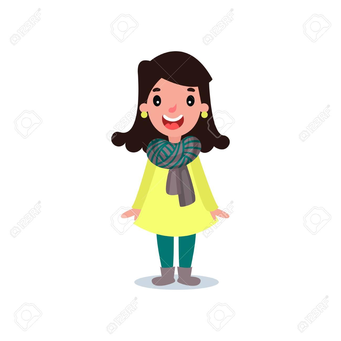 Un Personnage Feminin Dans Un Manteau Jaune Un Pantalon Vert Une