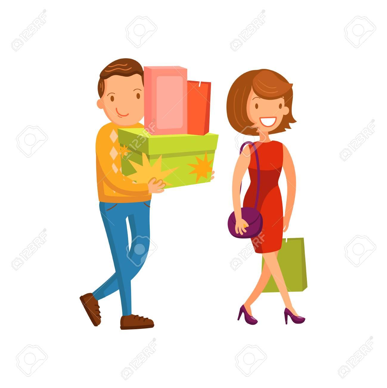 Dessin Shopping happy couple shopping, family shopping in a mall cartoon vector