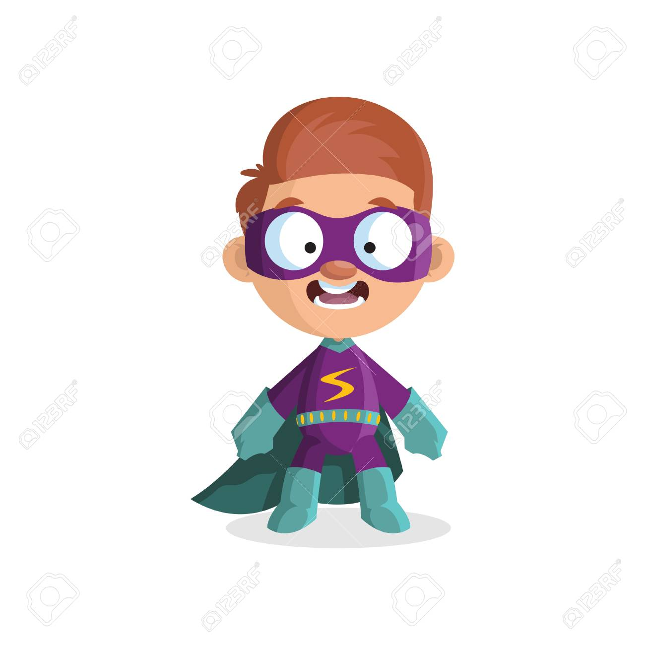Cute funny boy character in colorful superhero costume. - 91383673