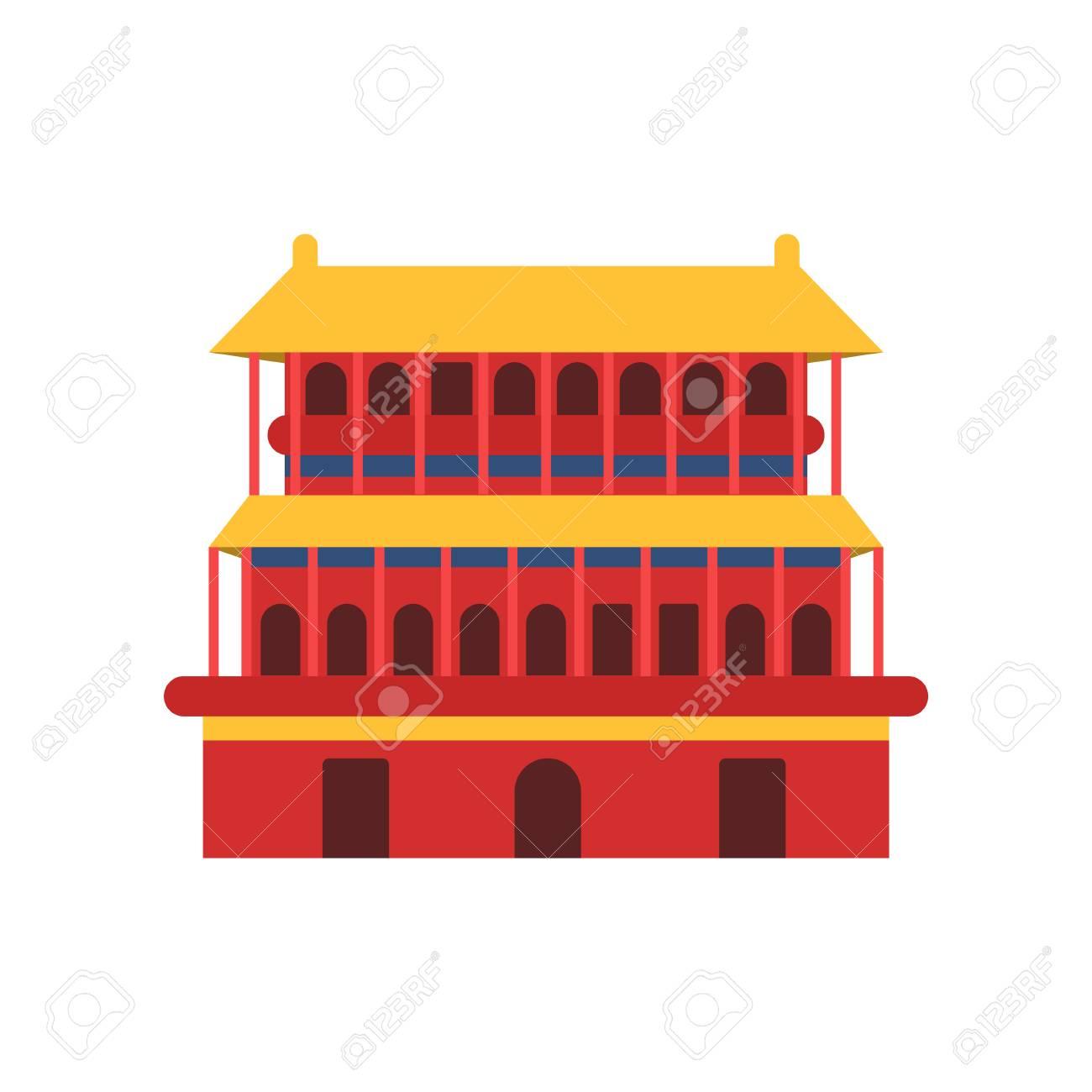 古代中国の建築。塔寺のアイコン。中国の文化のシンボルです。黄色の ...