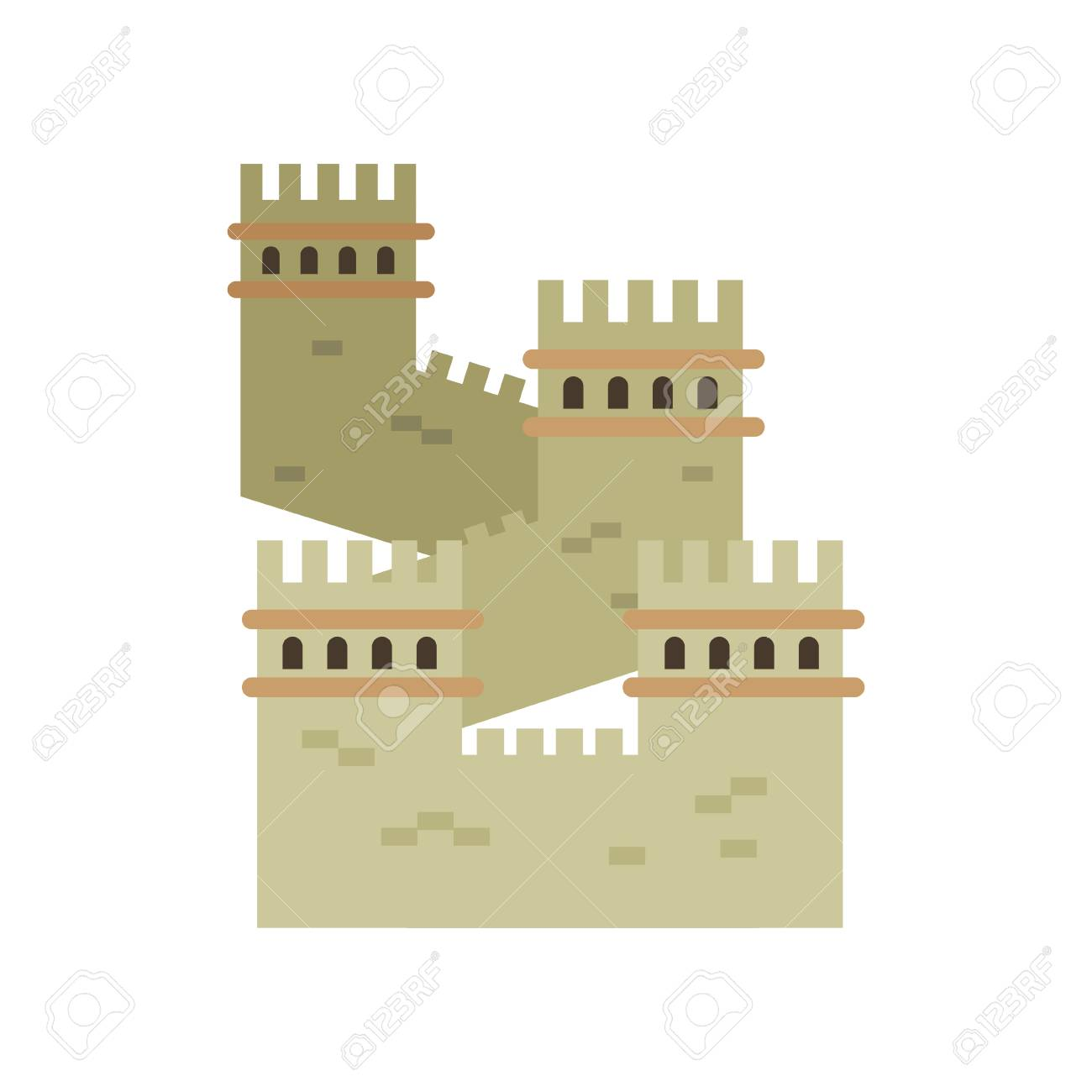 Great Wall Of China. Colored Landmark Icon In Flat Style. Ancient ...