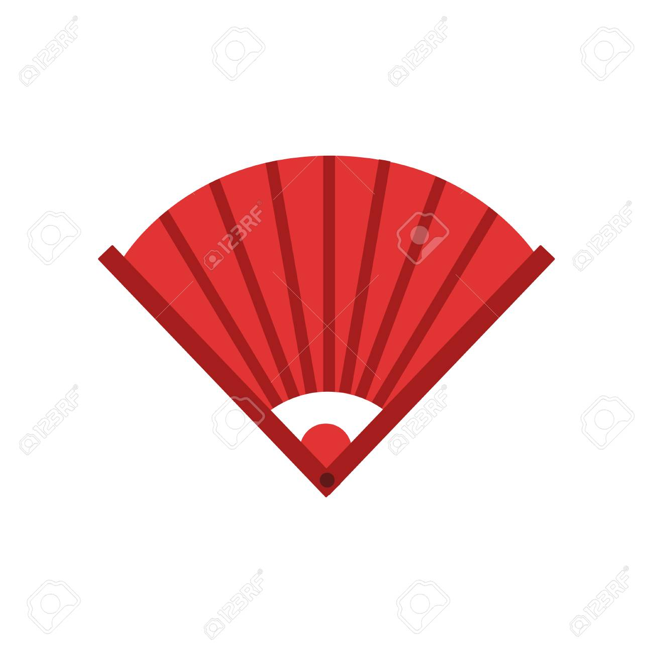 Traditional Chinese Bamboo Hand Fan Icon In Red Color Feng