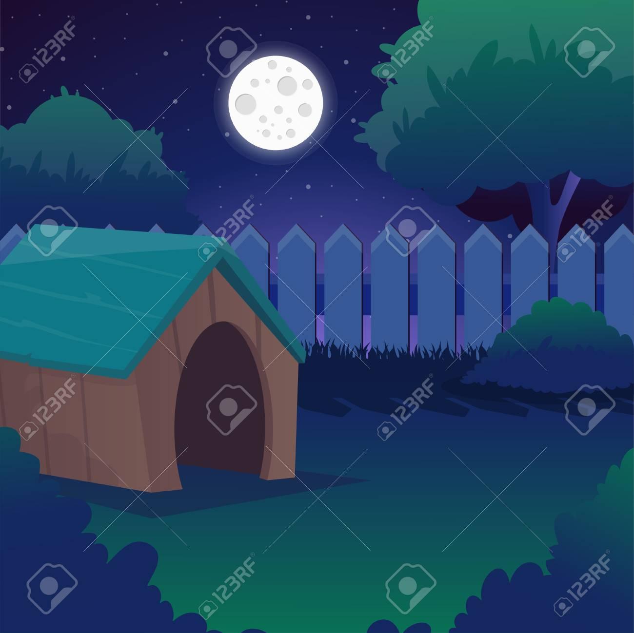 Paisagem Da Noite Dos Desenhos Animados Com Ceu Estrelado Lua