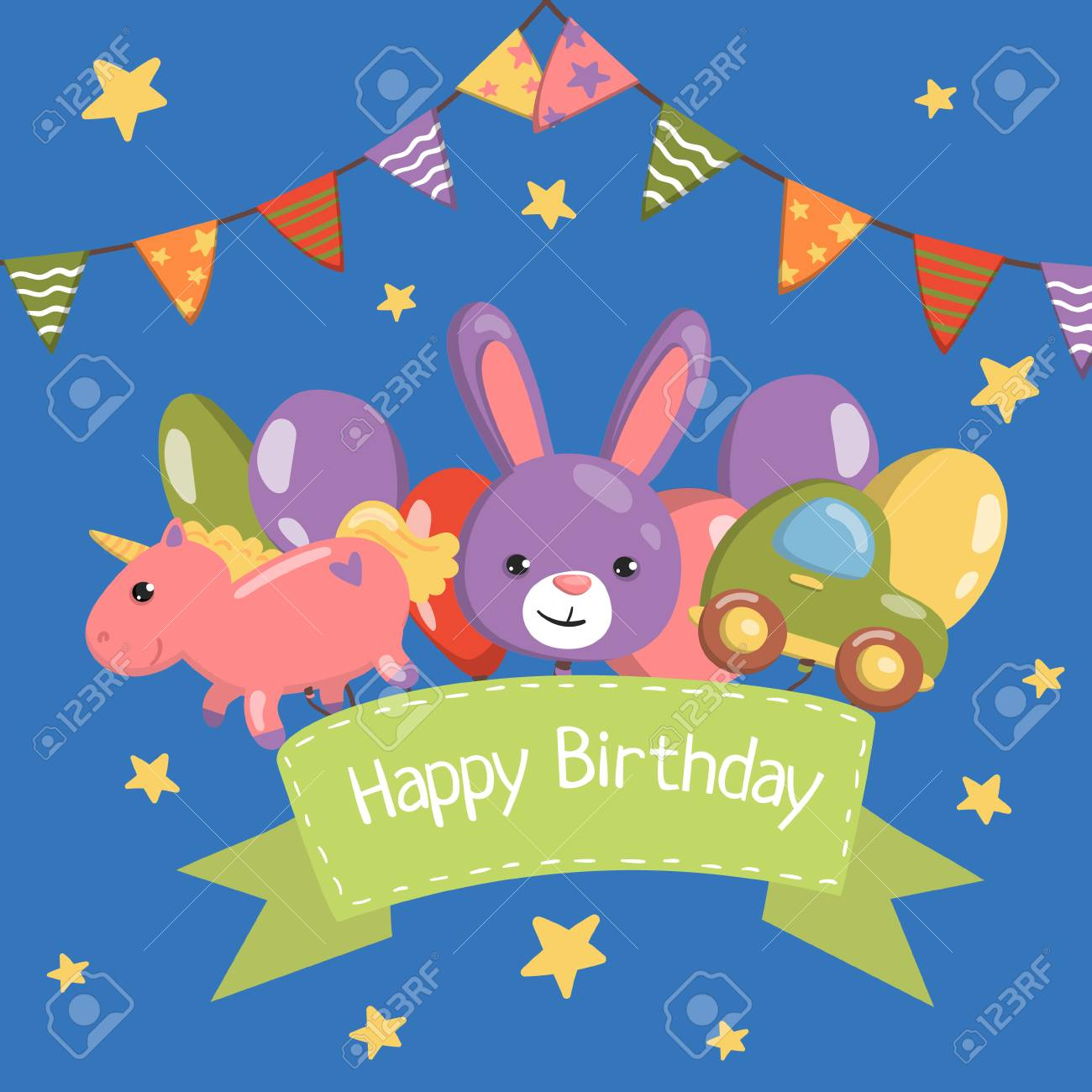 happy birthday banner birthday party card with cute animals