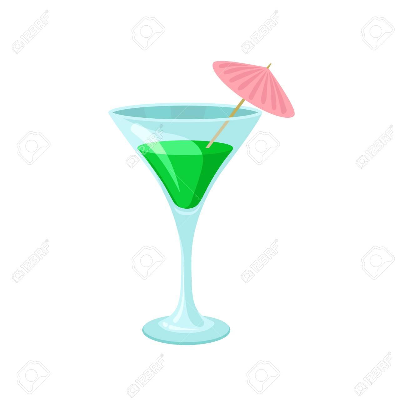 Creen Cocktail With Umbrella In Martini Glass Cartoon Vector