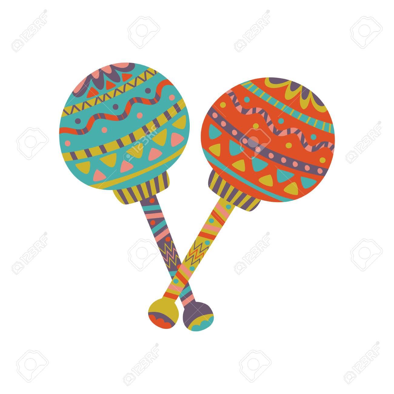colorful maracas with mexican ornament cartoon vector illustration