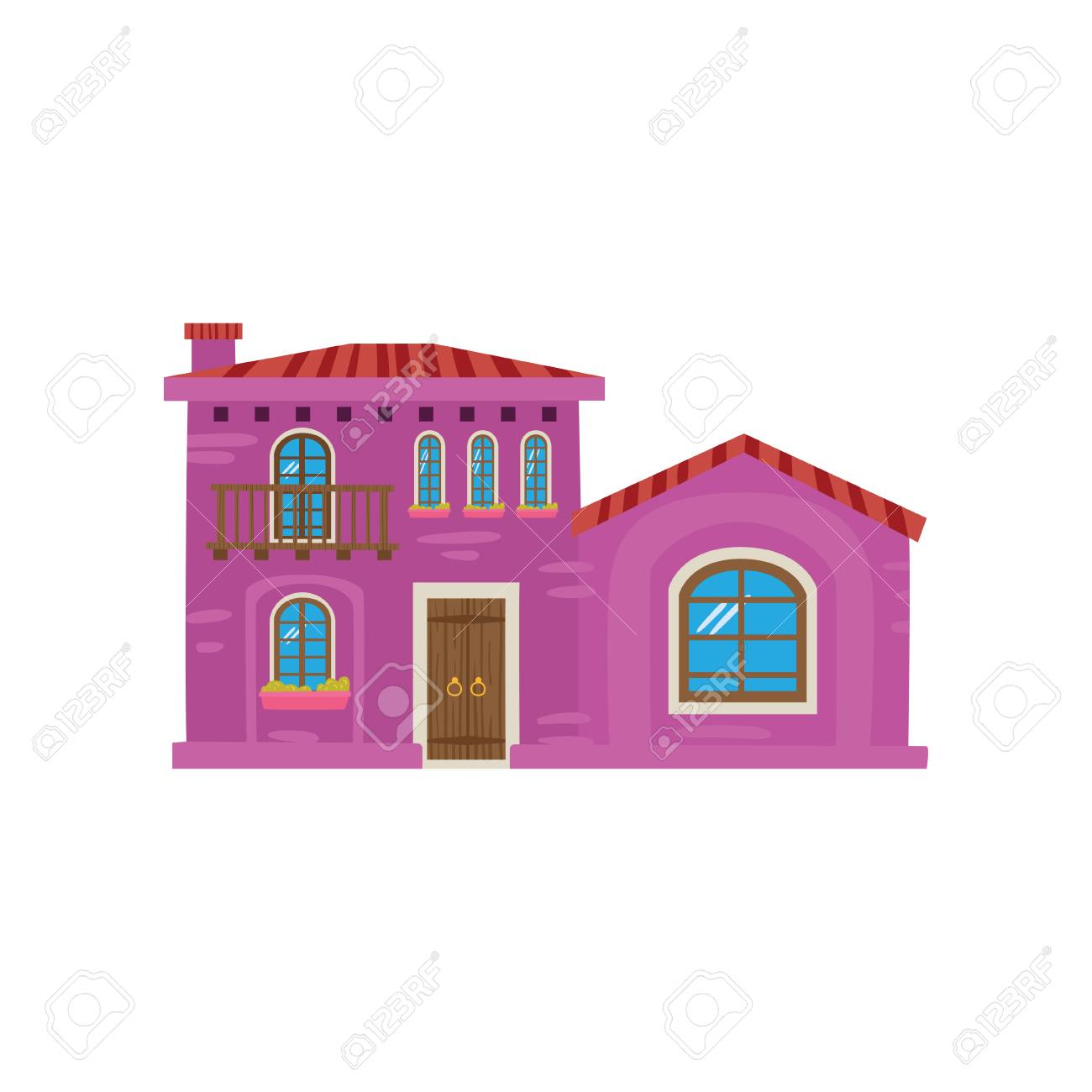 Traditional Mexican House Mexico City Facade Cartoon Vector