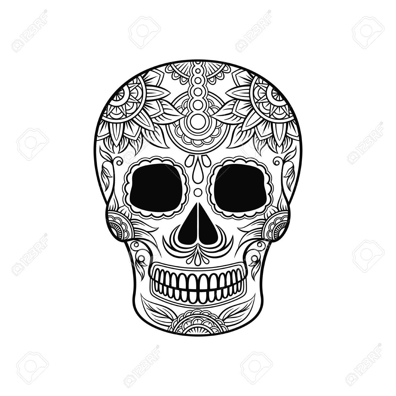 Mexican sugar skull with floral ornament day of the death black