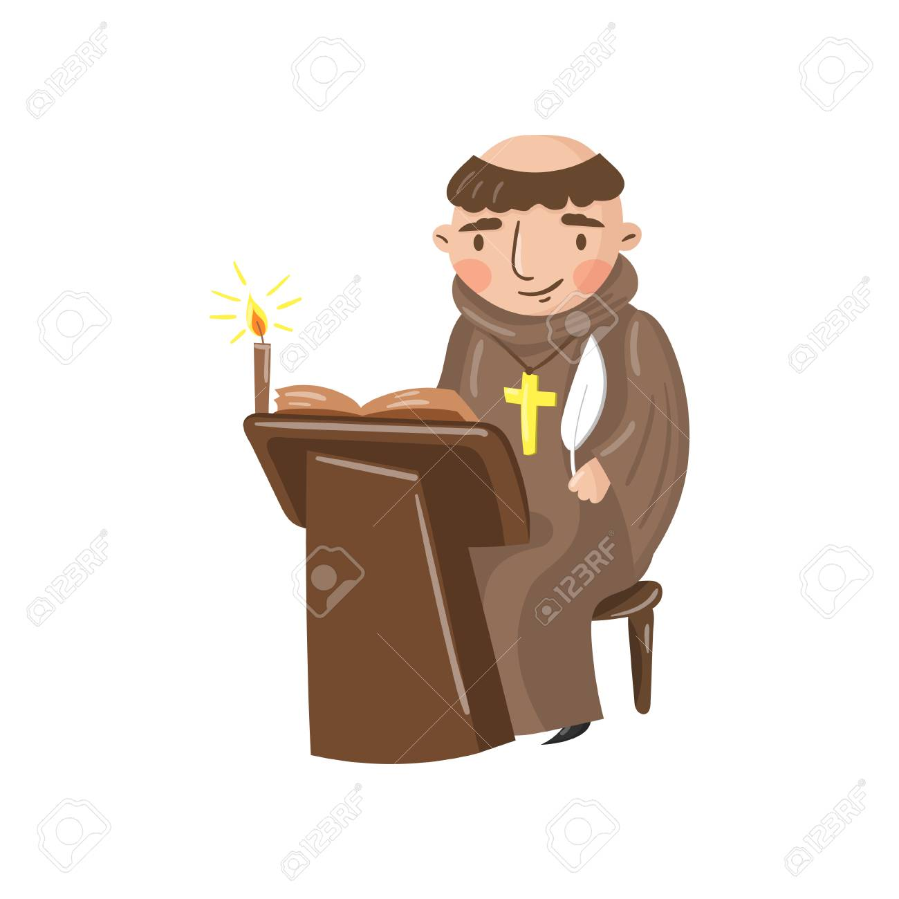 Medieval monk scribe character writing a chronicle of contemporary events. Cartoon vector Illustration on a white background. - 93952242