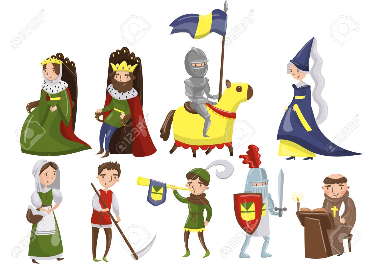 Medieval people set, characters of middle ages historic period vector Illustrations. - 94025219